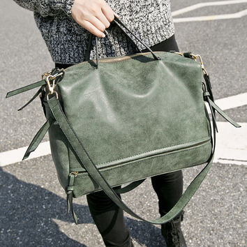 Green Leather Crossbody Shoulder Bag Handbag Messenger Motorcycle Bag