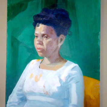 Portrait of a woman dressed in white on green background 16 x 20 inch oil. late 20th century, Unknown artist, signed D C S,