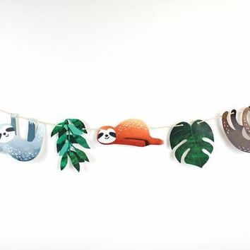 Sloth Party - Watercolor Garland | Sloth Birthday Decorations | Photo Prop | Tropical Leaves, Sloth Garland, Sloth Baby shower, Let's Hang