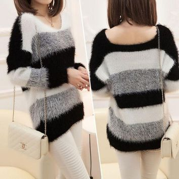CREYUG3 NWT 2014 Women's Fashion Striped Pullover Crochet Sweater Casual Plus Size Tops Knitted Jumper For Handsome Maternity Sweaters (Color: White & Blue) = 1919921604