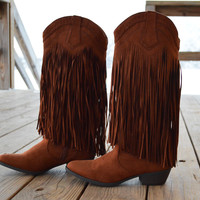 Brown Fringe Cowgirl Boots