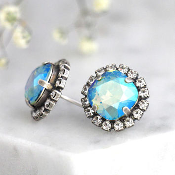 Blue Earrings, Icy Blue Studs, Gift For Her, Green Blue Earrings, Blue Swarovski Earrings, Bridal Blue Earrings, Bridesmaids Earrings