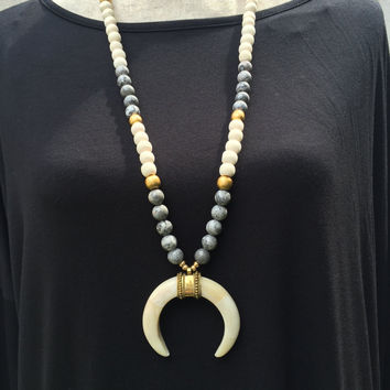 Natural Bliss Crescent Bone Horn Necklace
