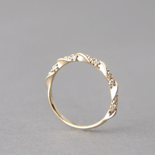 CZ Simple Elegant Engagement Ring Gold at from kellinsilver