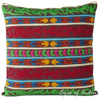 """16"""" Indian Stripe Cushion Pillow Toss Throw Cover Ethnic Embroidery India Decor"""