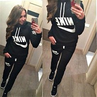 Nike Trending Women Leisure Letter Print Hoodie Sweater Pants Trousers Set Two-Piece Sportswear Black I
