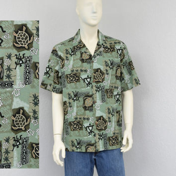 Vintage 80s Island Wear Light Green Hawaiian Shirt, Tribal Shirt, Sea Turtle Print, Mens Retro Shirt, Aloha Shirt, Summer Resort Wear