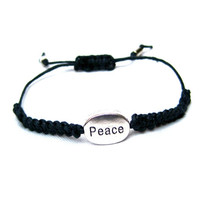 Peace Charm Friendship Macrame Stackable Bracelet Coachella Hipster Bracelet Black Hemp Festival Accessory Teen Gift Ready To Ship
