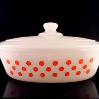 Glasbake Red Polka Dot Casserole Milk Glass Covered with Lid 1 QT J235