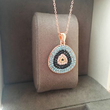 Evil eye necklace, rose gold necklace, evil eye jewelry, zirconia necklace