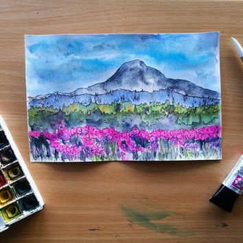 Spring Mountain Original Watercolor Landscape Painting, Flower Fields, Mountain scenery, alpine landscape, spring colors, pink, floral decor