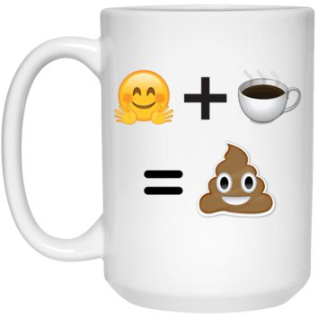Happy Emoji Plus Coffee Equals Poop Emoji Mug - 15oz