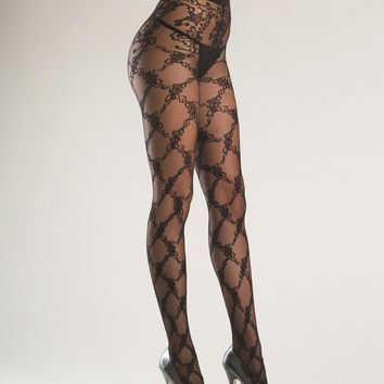 Bewicked Female Sheer Tights With Floral Design BW754