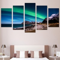 Northern Light Aurora 5 Panel Wall Art Picture Print on Canvas Framed UNframed
