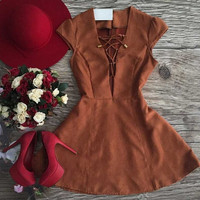 Suede Lace Drawstring Dress