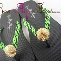 Softball Animal Print Bling Rhinestone Flip Flops