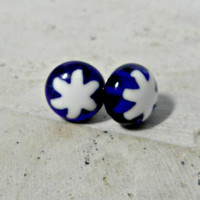 millefiore Earrings - fused glass earrings - millefiore post earrings - blue and white glass - jewelry -  stud earrings