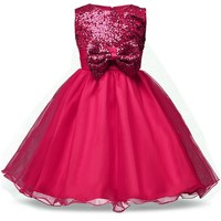 Girl Dresses 2017 Summer Sequins Baby Girls Clothes Big Bow-Knot Princess TuTu Dress Wedding Party Kids Costume Baby Clothing