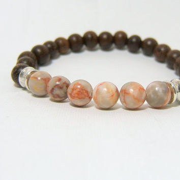 "JASPER & Madre de Cacao Wooden Bead Bracelet ~ 8mm Beads with Antiqued Silver Barrel Beads ~ stretch cord, 7.5"" ~ Handcrafted Wood Beads"