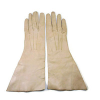 Vintage Gloves, Barton and Guestier, Made in France, Kid Leather, Taupe Beige, Evening Gloves, Teen Young Ladies, Fashion Accessories