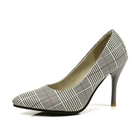 Women Plaid Pointed Toe Pumps High Heel Shoes 2055
