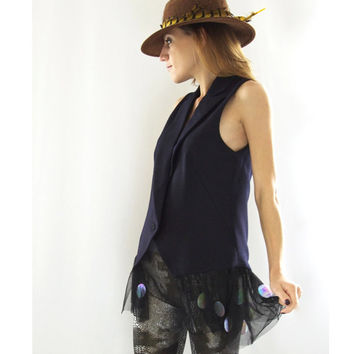 Women's Tunic Top - black tulle,modern bohemian style,embellished,Halloween,made in England