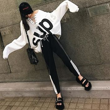 """Supreme"" Women Casual Loose Letter Print Bandage Long Sleeve Sweater Stripe Trousers Set Two-Piece Sportswear"
