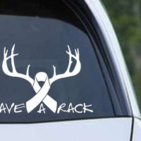 Save the Rack Breast Cancer Ribbon (02) Die Cut Vinyl Decal Sticker