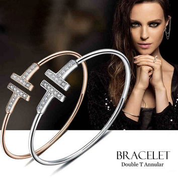 Gold Plated Adjustable CZ Crystal Pulsera Double T Shaped Metal Cuff Bracelets&Bangle Open Cross Charm Bracelet For Women Or Men