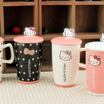 Nice Creative Kawaii Cartoon Novelty Hello Kitty Business Gift Mug Cute Summer Cool Drink Milk Coffe Juice water Cup for Girl