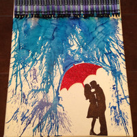 Melted Crayon Art  Romance in the Rain by MeltedElegance on Etsy