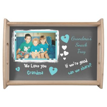 Personalized Grandma's photo for snacks gray Serving Tray