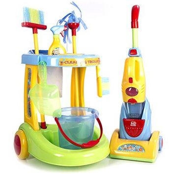 "Constructive Playthings PGL-80 Kid-Sized ""Little Helper"" Pretend Cleaning Trolley/12 Piece Set"