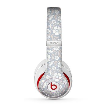 The Subtle White and Blue Floral Laced V32 Skin for the Beats by Dre Studio (2013+ Version) Headphones