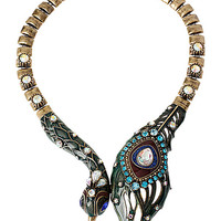 WRAPPED UP GOLD PEACOCK NECKLACE MULTI