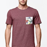 On The Byas Flores Pieced Pocket Crew T-Shirt - Mens Tee - Red