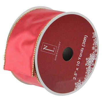 "Shiny Red and Gold Wired Christmas Craft Ribbon 2.5"" x 10 Yards"