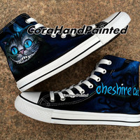 Custom Cheshire Cat Converse Custom Shoes Custom Hand Painted Shoes Canvas Shoes Custom Shoes Unique Birthday Gifts