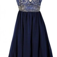 Navy&Cream Strapless Embellished Dress with Lace Overlay