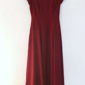 Vintage 80s 90s Cranberry Red Long Fitted Maxi Dress Prom Gown Fall Wedding Off the Shoulder Fall Bridesmaid Dress Princess Size Medium