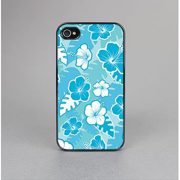The Blue & White Hawaiian Floral Pattern V4 Skin-Sert Case for the Apple iPhone 4-4s