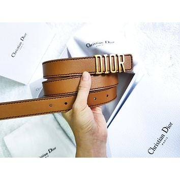 Dior Tide brand men's and women's metal letter head smooth buckle belt coffee