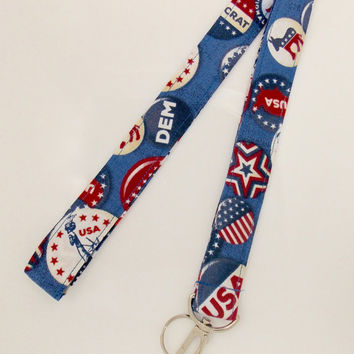 Democratic Lanyard Election Lanyard USA Lanyard Patriotic Lanyard Statue of Liberty Lanyard Political Button Lanyard Political Party Lanyard