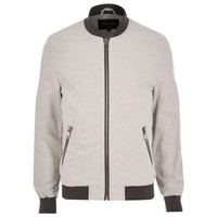 Sleek Grey Bomber Jacket by River Island