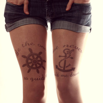 Free Shipping - Sailor Tattoo Tights - Made to order :)