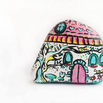 Decorative House in mint and pink illustrated stone for home and office