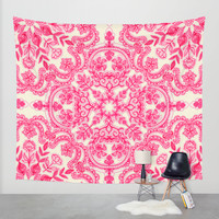 Hot Pink & Soft Cream Folk Art Pattern Wall Tapestry by Micklyn