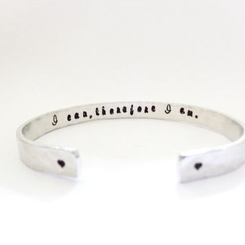 Secret Message Cuff Bracelet - Yoga Bracelet - I can, therefore I am.. Yoga Jewelry - Inspirational Message - Quote Jewelry