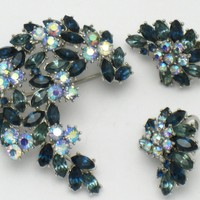 TRIFARI Vintage Shades of Blue Rhinestone Borealis Brooch and Earring SET