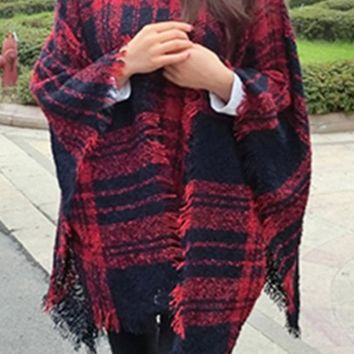 Red And Navy Blue Patchwork Plaid Tassel High Neck Cape Pullover Sweater